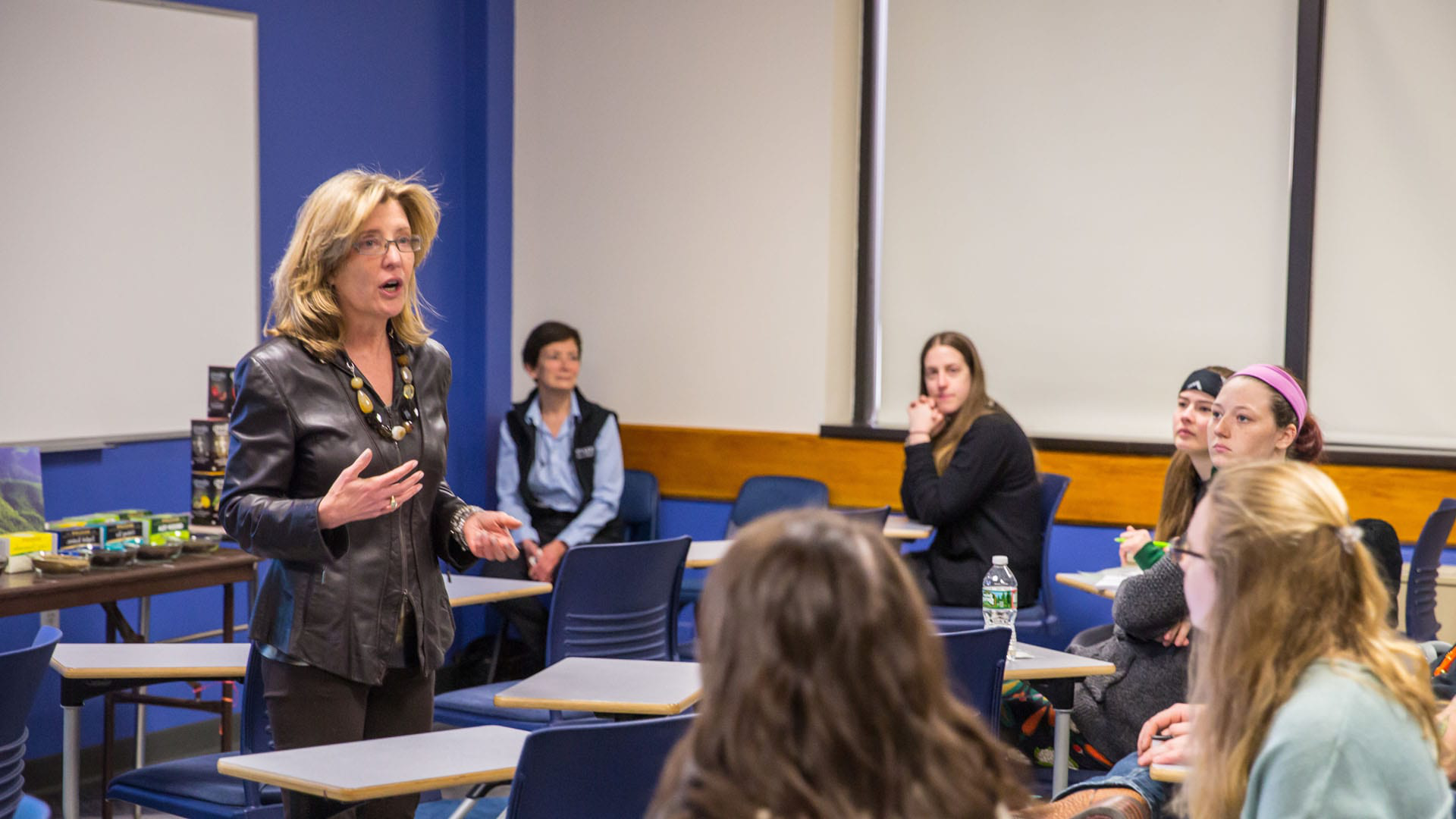 Cindi Bigelow speaks with hospitality students about Bigelow Tea and breaking into the industry.