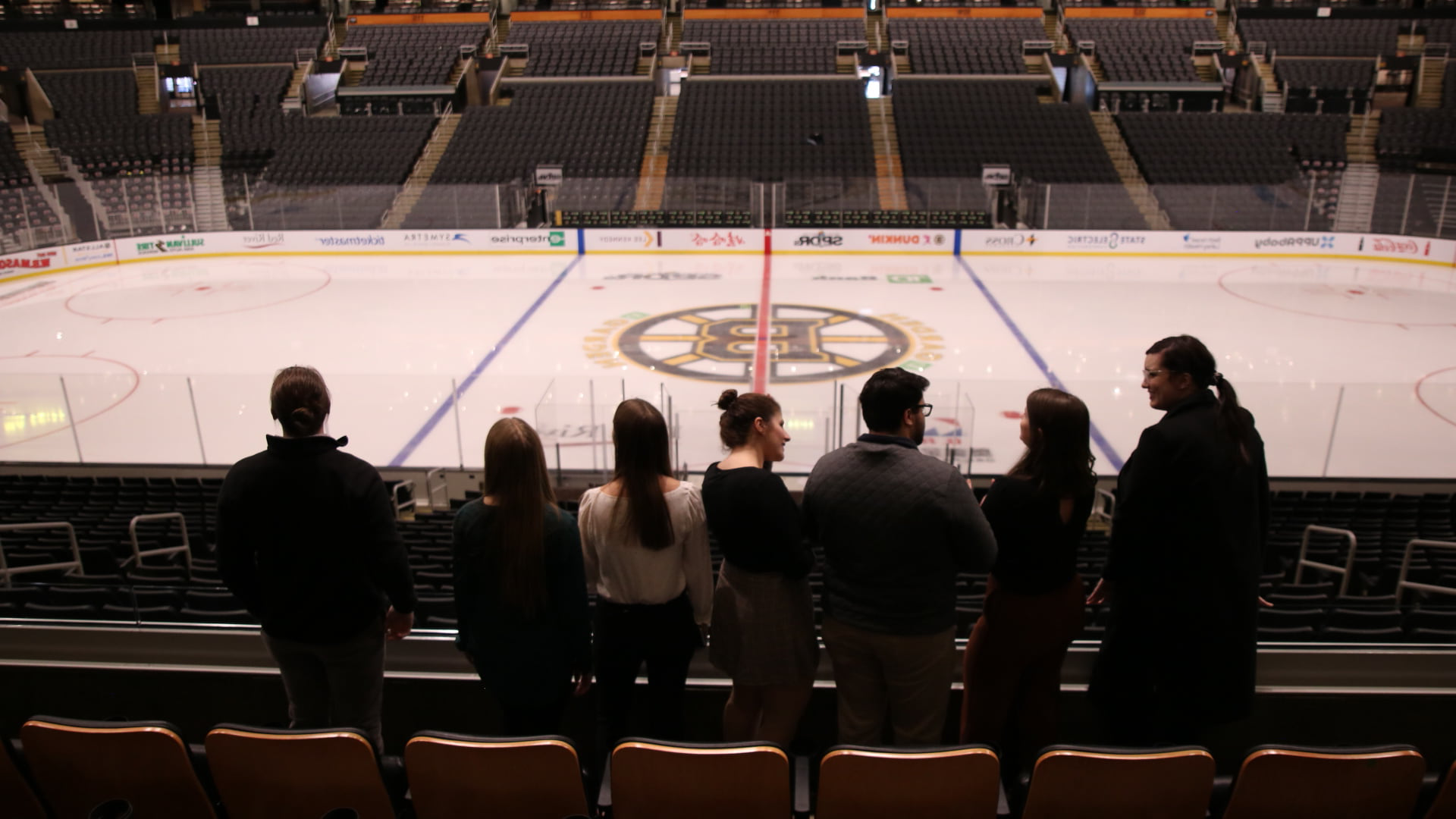 group of students at TD Garden