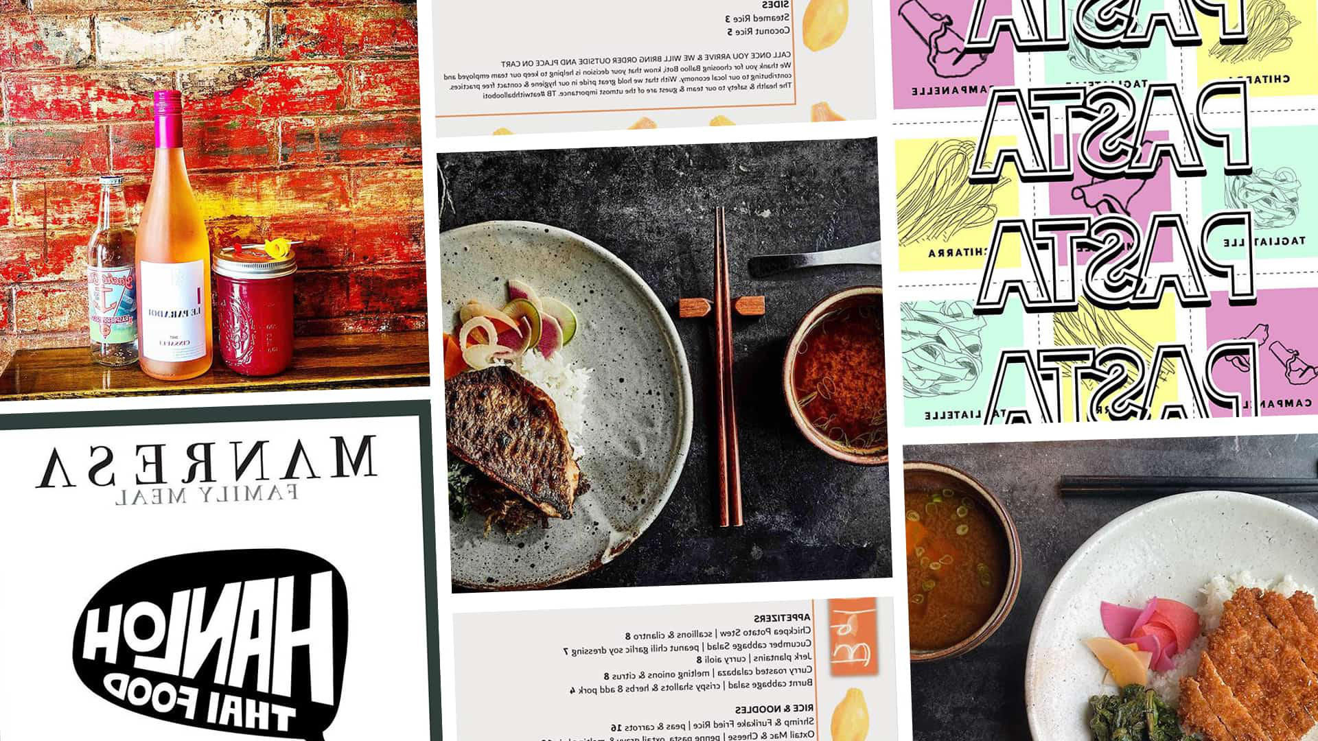 Collage selection of alum restaurants offering takeout.