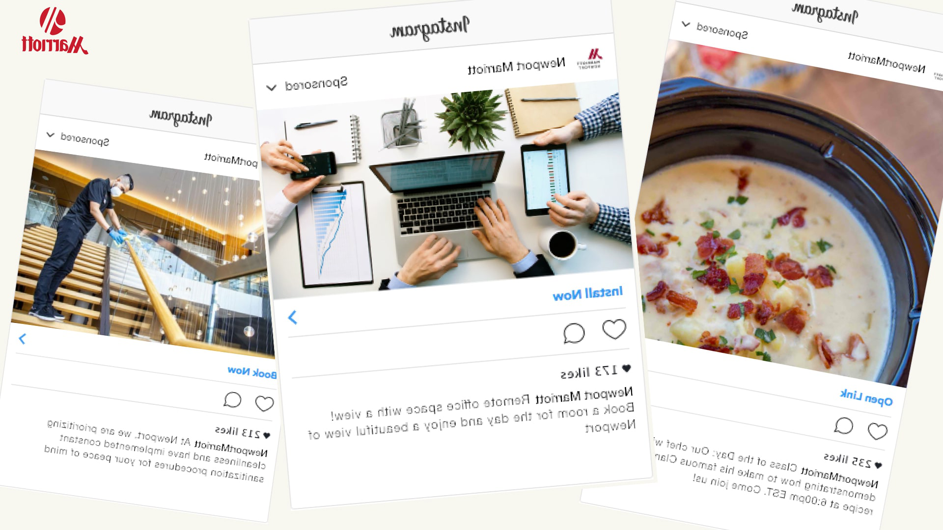 CQ9电子游戏 students mocked up Instagram posts as part of their consulting work with the Newport Marriott.